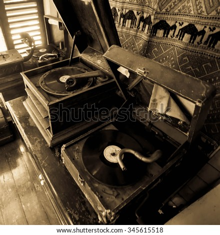 Old music box heritage form Lam-pang on antique style - stock photo