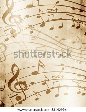 Old music sheet - stock photo