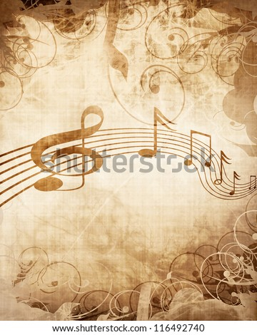 Old music sheet with musical notes - stock photo