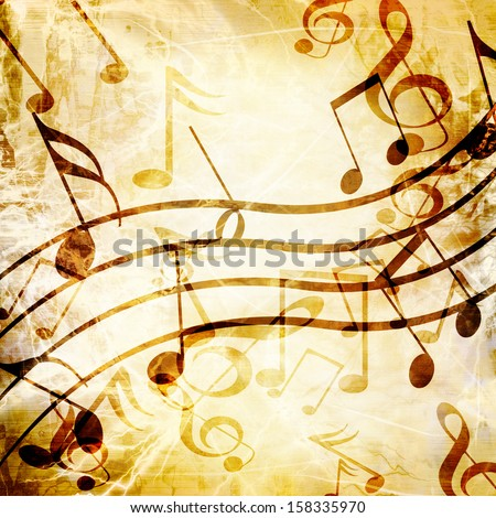 old music sheet with some spots and stains on it - stock photo
