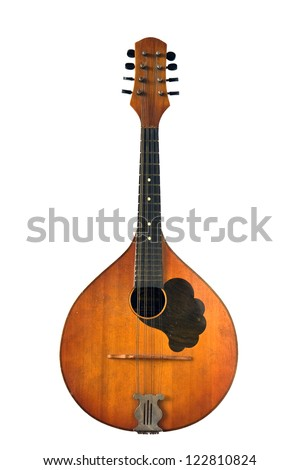 Old musical instrument - mandolin isolated on white background - stock photo