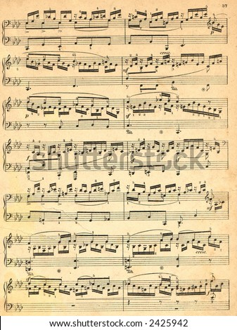 Old musical notes - stock photo