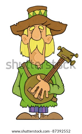 Old musician isolated on white - stock photo