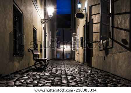 Old narrow street in Prague, Mala Strana - stock photo