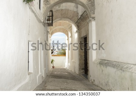 Old narrow street in Spain. Vejer de la Frontera village, Andalusia, Spain. Typical white spanish houses