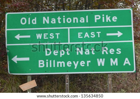 Old National Pike Roadway sign in Western Maryland - stock photo