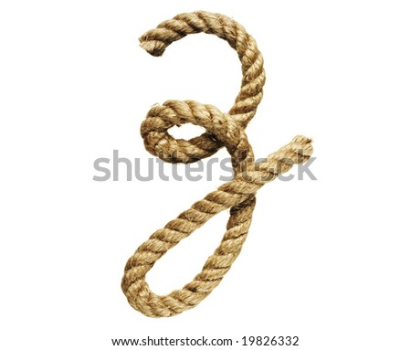 old natural fiber rope bent in the form of letter Z - stock photo