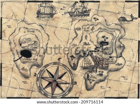 old nautical map - stock photo