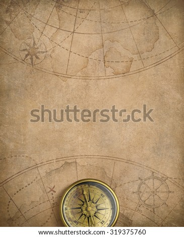 old nautical map with compass - stock photo