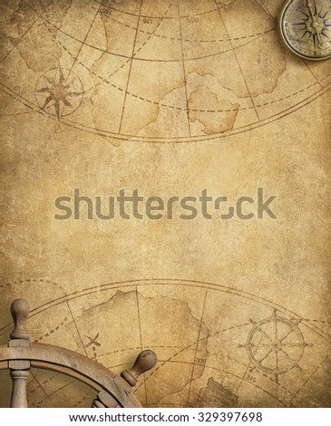 old nautical map with compass and steering wheel - stock photo