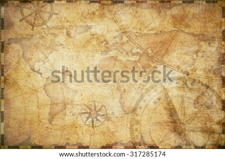 old nautical treasure map background - stock photo