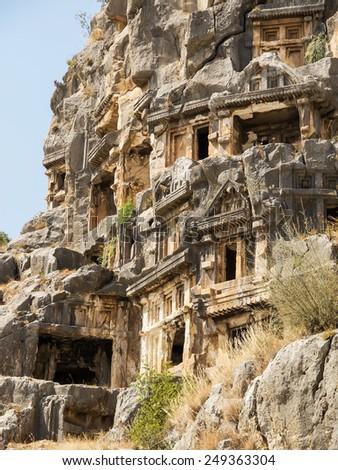 Old necropolis in Turkey - stock photo