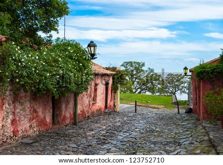 Old neighborhood in Colonia del Sacramento, Uruguay - stock photo