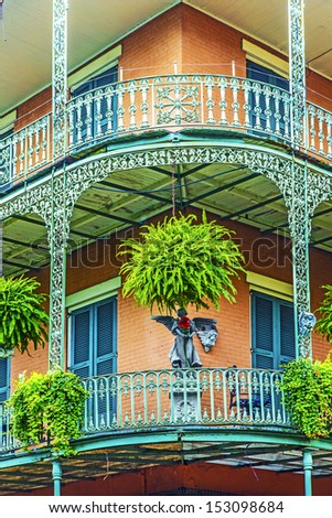 old New Orleans houses in french Quarter - stock photo