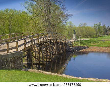 Old North Bridge, Concord, Mass, site of the first American victory in the Revolutionary War on April 19, 1775 - stock photo