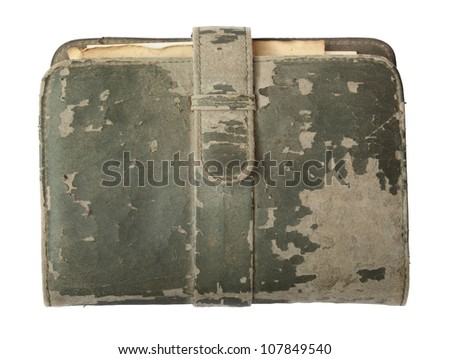 Old Notebook isolated on white with clipping path. - stock photo