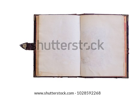 Old notebook with blank pages isolated on white