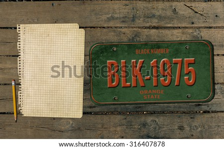 Old number and paper. Retro background - stock photo