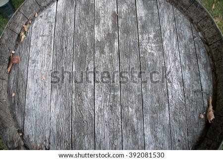 Old oak barrel. Aged wooden surface.  - stock photo