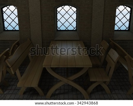 Old oak table 3D rendering. 3D rendering of old oak table in the interior of the castle and sea views.