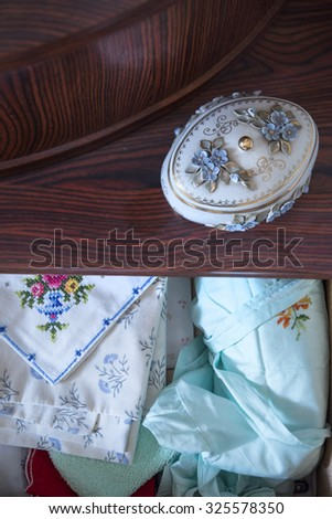 old object and towel in room of grandma - stock photo