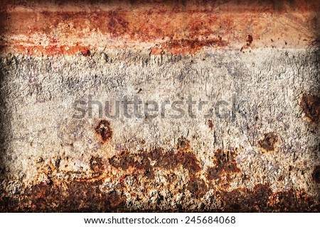 Old, obsolete, badly corroded river raft hut floater metal surface, covered with cracked decomposed layers of paint and rust, vignette grunge texture. - stock photo
