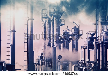 old oil and gas refinery, smoke and smog, petrochemical concept - stock photo