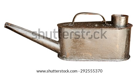 Old oil can isolated on white. Clipping path included. - stock photo