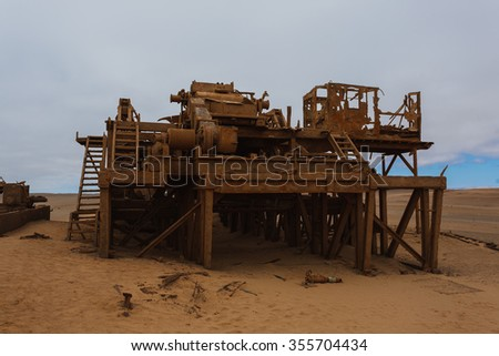 Old oil extraction station abandoned from Skeleton Coast, Namibia - stock photo
