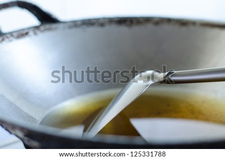 old oil in pan - stock photo