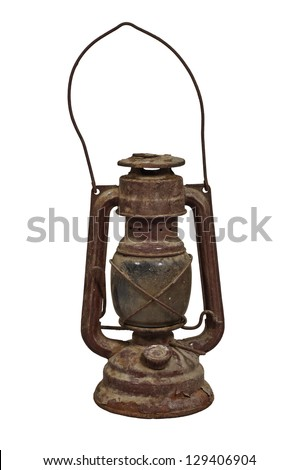 Old oil lamp, isolated on white background - stock photo