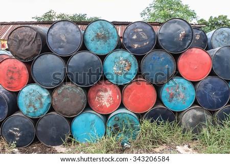 Old oil tanks - stock photo