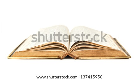 old open Bible on white background - stock photo