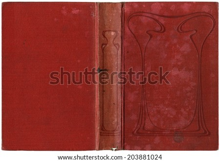 Old open book cover - canvas - circa 1909 - art nouveau - isolated on white - perfect in detail! - XL size - stock photo