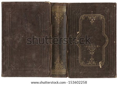 Old open book cover - circa 1880 - isolated on white - perfect in detail - XL size - stock photo