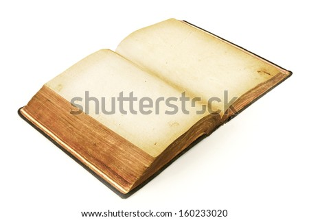 old open book isolated on white - stock photo