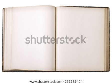 Old open book isolated on white background - stock photo