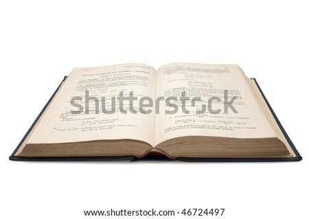 old open book of mathematics used to study algebra in schools isolated with clipping path