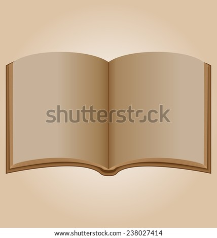 Old open book on brown background - stock photo