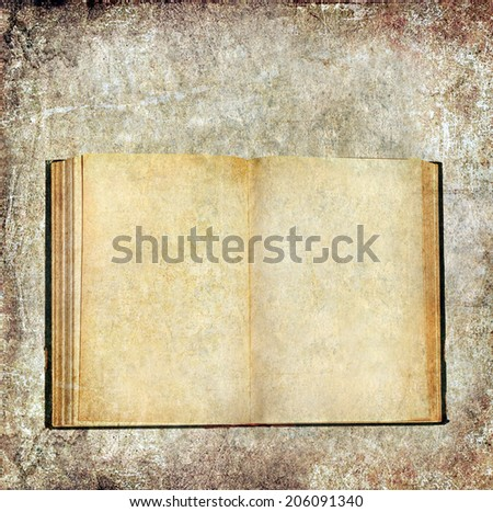 Old open book textured grunge paper background  - stock photo