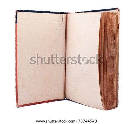 Old open book with empty pages isolated on white - stock photo