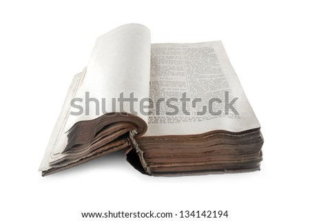 old open Russian bible isolated on white background - stock photo