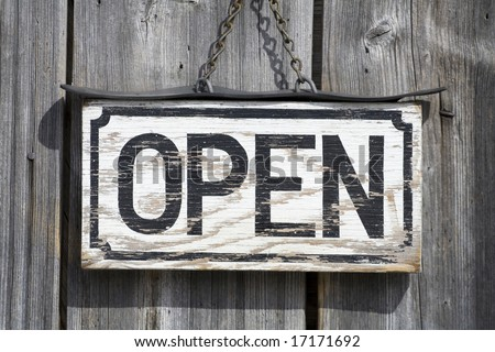 old Open sign - stock photo
