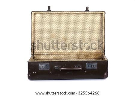 Old open suitcase isolated on white background - stock photo