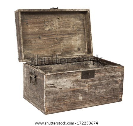 old open wooden chest is isolated on white - stock photo