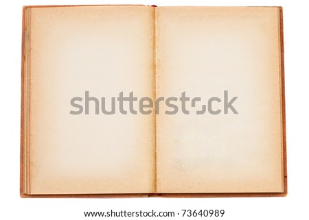 Old opened book with blank pages isolated over white background - stock photo