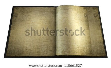 Old opened book with empty pages. isolated on white 3d High resolution