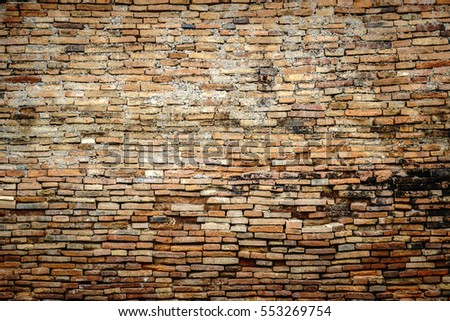 Old orange brick wall background texture surface
