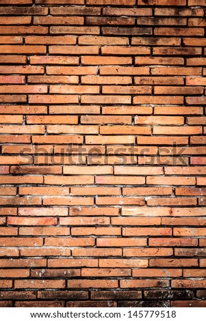 Old orange brown brick wall surface texture background