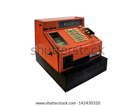 Old orange cash register from the seventies. - stock photo